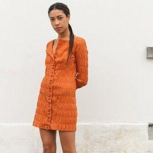CULT GAIA Lafina Long Sleeve Crinkle Mini Dress